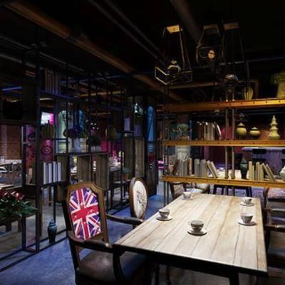 陈设品, 餐厅, 置物架, 工业风格, 桌椅组合, 吊灯