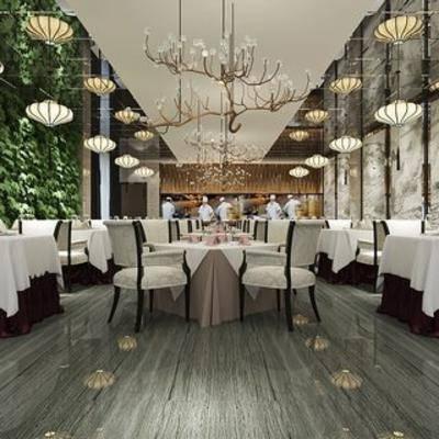 千亿国际app|娱乐网站餐厅, 新中式, 植物, 桌椅组合, 吊灯