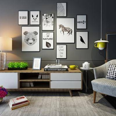 单人沙发, 北欧沙发, 电视柜, 陈设品组合, 北欧陈设品, 北欧