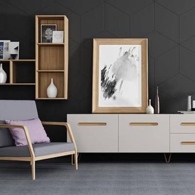 单人沙发, 电视柜, 陈设品组合, 北欧陈设品, 北欧