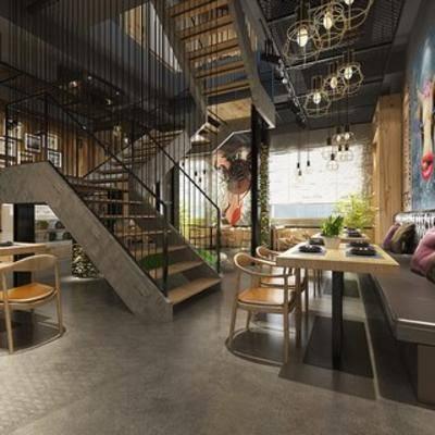 工业份风格, loft, 陈设品, 餐厅, 桌椅组合, 吊灯
