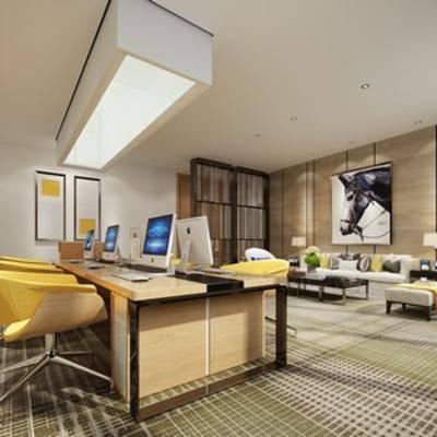 沙发茶几, 桌椅组合, 现代简约, 现代办公室