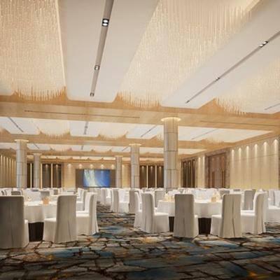 现代酒店, 餐具, 宴会厅, 现代餐厅, 餐厅, 桌椅组合