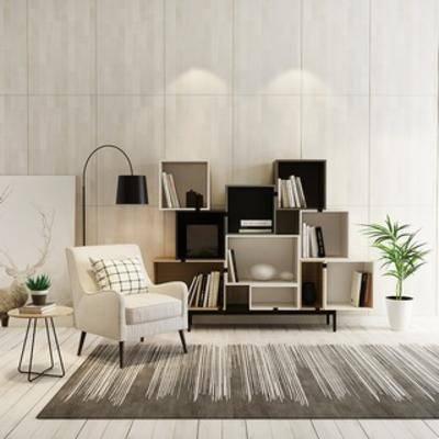 单人沙发, 北欧沙发, 北欧简约, 书柜组合, 北欧书柜, 北欧, 扮家家-积分兑换300套模型【三】