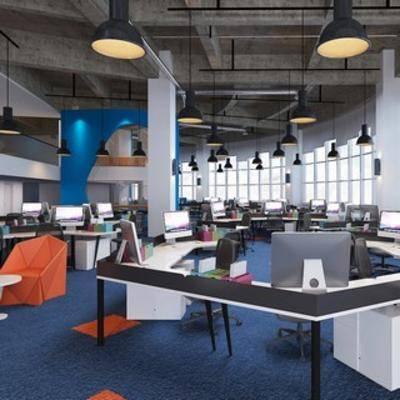 吊灯, 桌椅组合, 现代简约, 置物柜, 电脑, 现代办公室