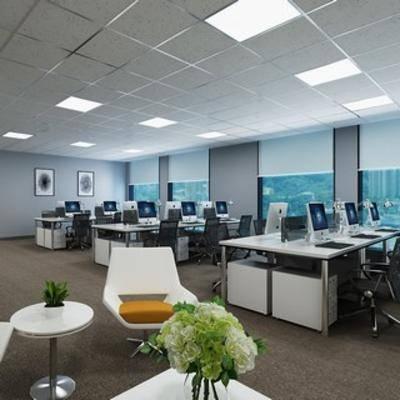 桌椅组合, 植物, 现代椅子, 办公桌, 电脑, 现代办公室