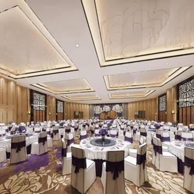 现代酒店, 餐具, 宴会厅, 餐厅, 桌椅组合
