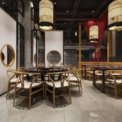 餐具, 新中式餐厅, 新中式, 桌椅组合, 吊灯