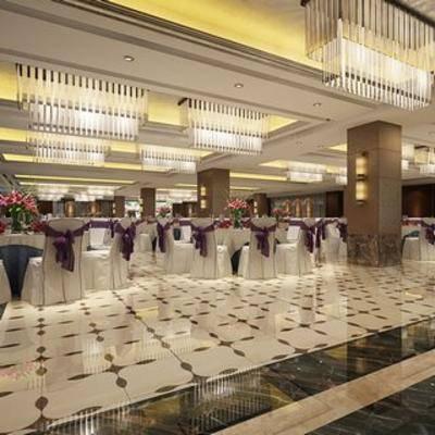 现代酒店, 宴会厅, 现代餐厅, 餐厅, 桌椅组合, 吊灯