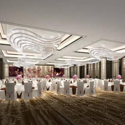 现代酒店, 宴会厅, 桌椅组合, 吊灯