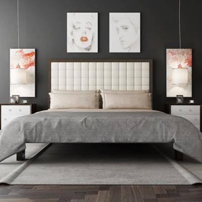 现代简约, 现代床, 床具组合, 现代床具, 挂画, 床头柜, 下得乐3888套模型合辑