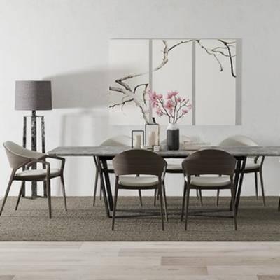 餐桌椅组合, 桌椅组合, 落地灯, 北欧椅子, 北欧简约, 北欧餐桌, 北欧