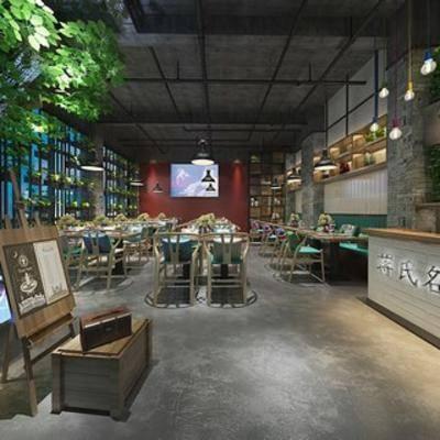 餐具, loft, 现代餐厅, 植物, 桌椅组合, 吊灯