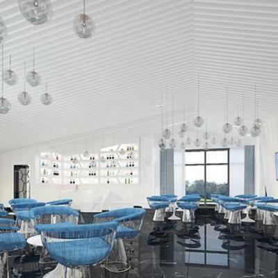 餐饮店, 现代酒吧, 植物, 桌椅组合, 吊灯