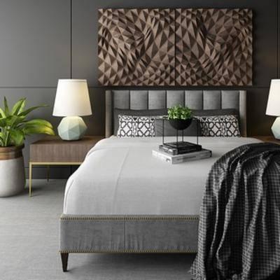 现代简约, 现代台灯, 床具组合, 现代植物, 现代柜, 下得乐3888套模型合辑