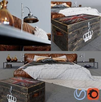 双人床组合, loft, 简约, 床, 工业风