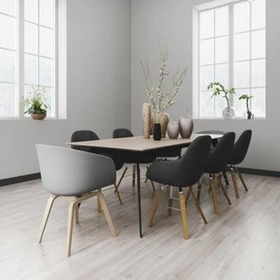 桌椅组合, 植物, 北欧椅子, 北欧桌子, 北欧简约, 北欧, 下得乐3888套模型合辑