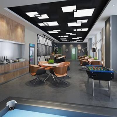 桌椅组合, 现代简约, 办公室, 茶水间, 休息区, 桌游, 现代