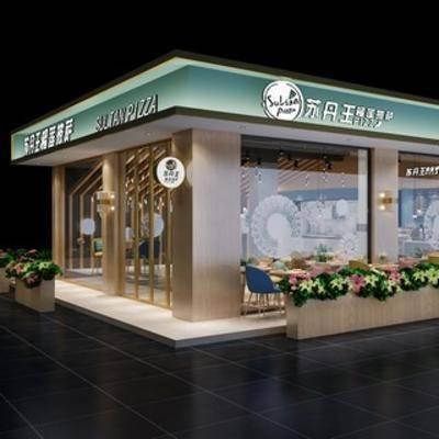 餐饮店, 门面, 现代餐厅, 植物