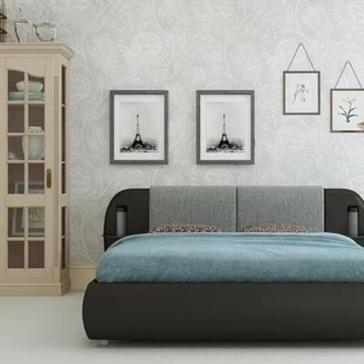 置物柜组合, 双人床, 现代简约, 落地灯, 下得乐3888套模型合辑