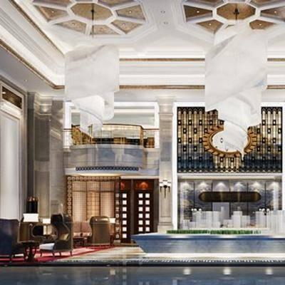 大堂, 大厅, 桌椅组合, 吊灯, 新中式, 售楼处