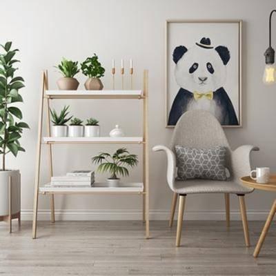 盆栽植物架组合, 北欧简约, 单人椅, 茶几, 下得乐3888套模型合辑, 扮家家-积分兑换300套模型【三】
