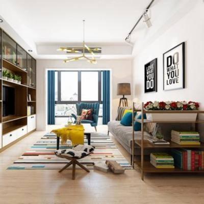 吊灯, 沙发茶几组合, 客厅, 置物柜, 挂画, 现代