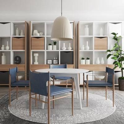吊灯, 桌椅组合, 植物, 书柜, 北欧简约, 北欧