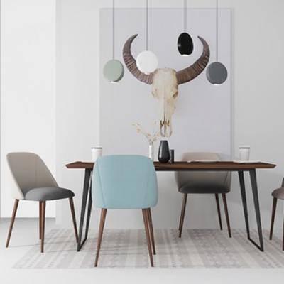桌椅组合, 北欧桌子, 北欧简约, 北欧吊灯, 北欧, 下得乐3888套模型合辑