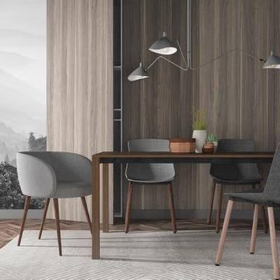 吊灯, 桌椅组合, 北欧桌子, 北欧简约, 北欧, 下得乐3888套模型合辑
