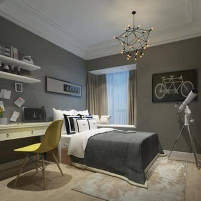 现代, 卧室, 吊灯, 床, 床头柜, 台灯, 挂画, 置物架, 单椅, 地毯