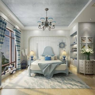 地中海, 卧室, 吊灯, 床, 床头柜, td地毯, 墙饰, 挂画, 花瓶, 窗帘