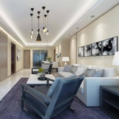 吊灯, 椅子, 沙发茶几组合, 台灯, 挂画, 现代, 客厅
