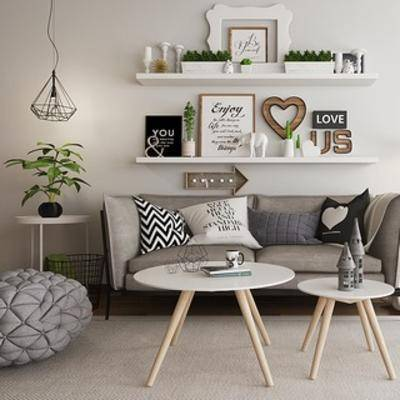吊灯, 沙发茶几组合, 植物, 陈设品, 挂画, 北欧, 下得乐3888套模型合辑