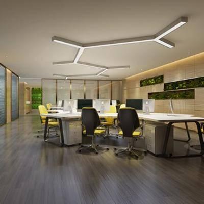 桌椅组合, 现代椅子, 现代办公桌, 电脑, 现代办公室