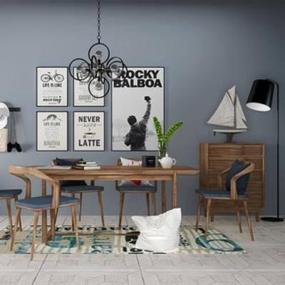 吊灯, 桌椅组合, 植物, 陈设品, 装饰画, 北欧简约, 北欧, 下得乐3888套模型合辑