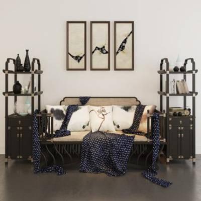 中式, 多人沙发, 置物柜, 装饰画, 陈设品组合