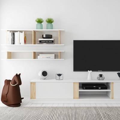 植物, 电视柜, 书架, 北欧简约