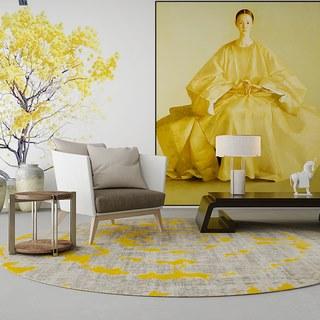新中式单人沙发茶几组合