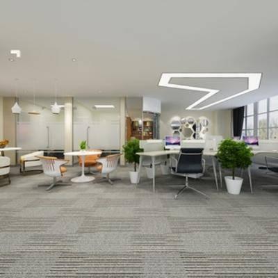 桌椅组合, 植物, 现代简约, 电脑, 现代办公室