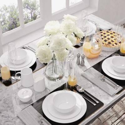 现代餐具, 餐具, 陈设品, 组合, 现代简约, 下得乐3888套模型合辑