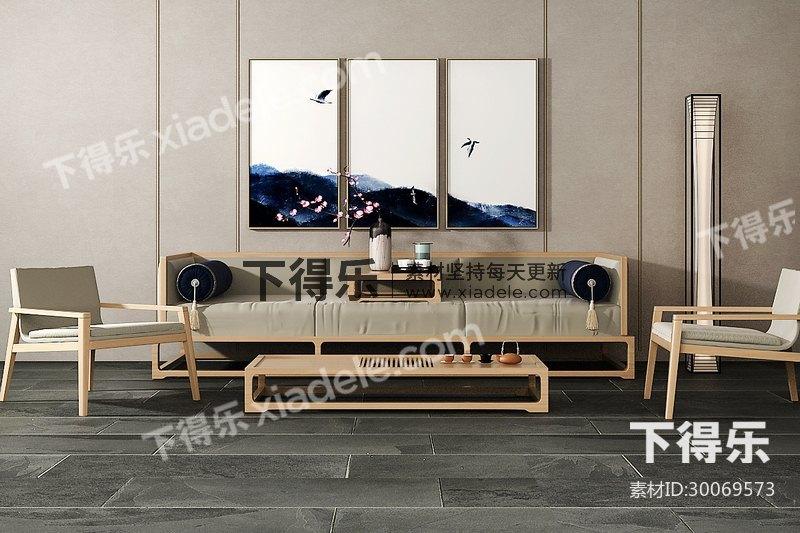 新中式沙发茶几组合图片