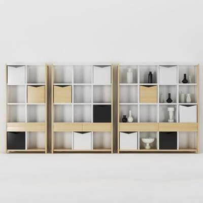 北欧置物柜, 陈设品组合, 北欧简约, 置物柜