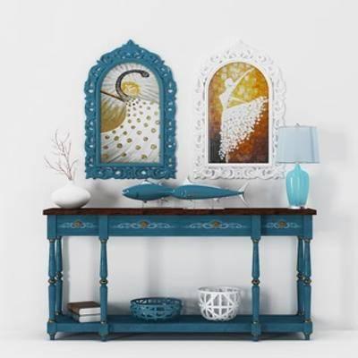 台灯, 边柜, 地中海, 陈设品, 陈设品组合
