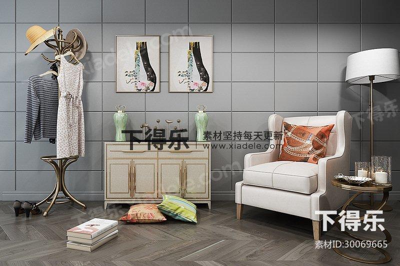 后现代简约单人沙发边柜陈设品组合,现代简约