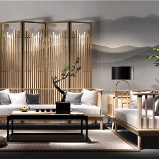 新中式沙发茶几组合