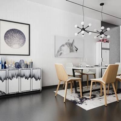 现代吊灯, 桌椅组合, 现代简约, 边柜, 柜, 装饰画, 现代, 下得乐3888套模型合辑