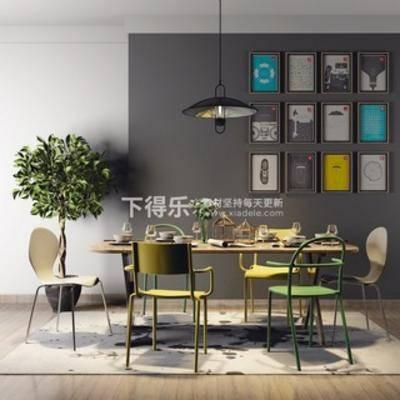 吊灯, 餐桌椅组合, 桌椅组合, 植物, 现代简约, 装饰画, 现代, 下得乐3888套模型合辑