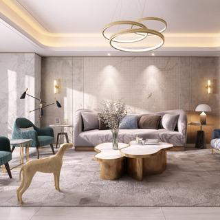 吊灯,椅子,沙发茶几组合,现代简约,壁灯,欧简客厅