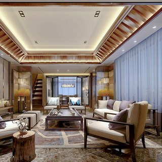 沙发茶几,椅子,壁灯,新中式客厅,茶具
